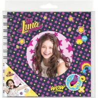 SOY LUNA Journal intime a spiral - 17 x 16 Cm - Avec 1 planche de 10 stickers
