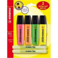 STABILO 6 surligneurs fluo : 4 BOSS ORIGINAL + 2 swing cool