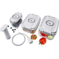STEBA 931700 Lot de 3 boîtes pour mise sous-vide : 3 containers avec 2,0 / 1,4 / 0,8 l + Accessoires - Blanc
