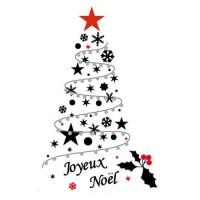 Sticker sapin de Noël Do It Yourself en PVC - 150 x 84 cm - Noir et rouge