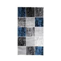 SUBWAY CUBE Tapis de couloir en polypropylene - 80 x 150 cm - Bleu