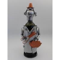 Support bouteille Décoration Vendangeur 15x15x22cm - Métal