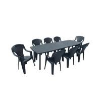 Table de jardin avec rallonge Lipari 2 - 8 a 10 places - 250 x 90 x 72, 8 cm - Gris anthracite
