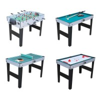 Table Multi Jeux 4 en 1 avec Pied (ping pong, baby foot, billard, palets)