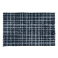 Tapis d?entrée FUSION DRY - Noir rayé bleu - 50x80 cm - Support vinyl antidérapant