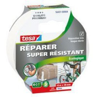 TESA Ruban de réparation Toilé Super Résistant - 10m x 38mm - Blanc