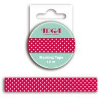 TOGA Masking tape rouge pois blanc - 10m