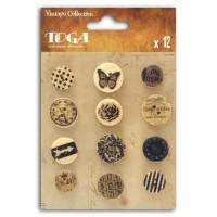 TOGA Pack de 12 Boutons Imprimés Vintage