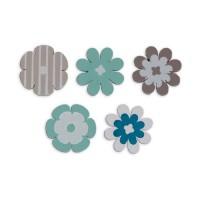 TOGA Pack de 25 Confettis Bois Fleurs - Bleu et taupe