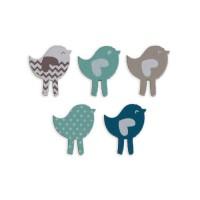 TOGA Pack de 25 Confettis Bois Oiseaux - Bleu et taupe