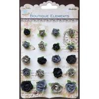 TRIMCRAFT Assortiment de 20 petites roses en papier noir et gris