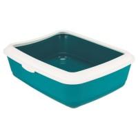 TRIXIE Bac a litiere Classic - 37 x 15 x 47 cm - Avec rebord - Bleu pétrole et blanc - Pour chat
