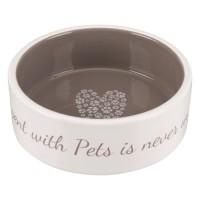 TRIXIE Écuelle céramique Pet's Home - 0,3 L - Ø 12 cm - Creme et taupe - Pour chien