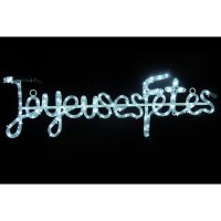 """Tube lumineux """"Joyeuses Fetes"""" - 4 m - Blanc - 112 LEDS + 16 flash"""