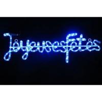 "Tube lumineux ""Joyeuses Fetes"" - 4 m - Bleu - 112 LEDS + 16 flash"
