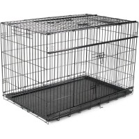 VADIGRAN Cage métallique pliable Premium - 122 x 76 x 84 cm - Noir - Pour chien