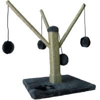 AIME Arbre a chat avec griffoir / grattoir et branches - Jouet chat 4 balles suspendues - 52 x 31 x 31 cm