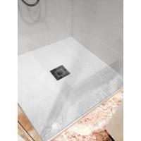 MITOLA Receveur de douche carré a poser Liwa - 80 x 80 cm - Résine composite - Blanc - Bonde au centre