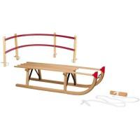 NIJDAM Luge en bois Davos + Dossier + Corde de Tirage - 100 cm