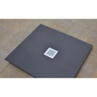 MITOLA Receveur de douche carré a poser Liwa - 80 x 80 cm - Résine composite - Gris anthracite - Bonde au centre