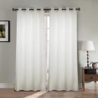 Paire double rideaux 140x260 cm Blanc - Effet lin