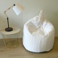 COTTON WOOD Poire pouf velours Charlotte - Ø80 x 100 cm - Blanc