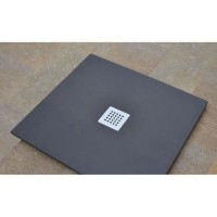 MITOLA Receveur de douche carré a poser Liwa - 90 x 90 m - Résine composite - Gris anthracite - Bonde au centre