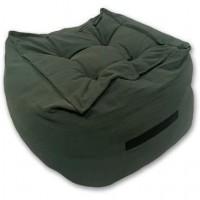 TODAY Pouf coton lavé Hygge - 45 x 45 cm - Vert kaki
