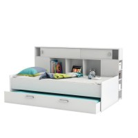 SHERWOOD Lit gigogne enfant contemporain blanc perle + tete de lit étageres intégrées - l 90 x L 200 cm