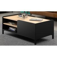 AMSTERDAM Table basse - Décor chataigner et noir - L 106 x P 60 x H 42 cm