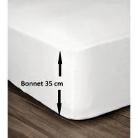 LOVELY HOME Drap Housse 100% Coton 160x200cm - Bonnet 35cm - Blanc