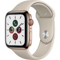 Apple Watch Series 5 Cellular 44 mm Boîtier en Acier Inoxydable Or avec Bracelet Sport Stone - M/L