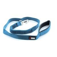 I DOG Laisse Confort - L 120 cm - Bleu et gris - Pour chien
