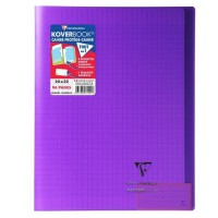 CLAIREFONTAINE - Cahier piqûre KOVERBOOK - 24 x 32 - 96 pages Seyes - Couverture Polypro translucide - Violet