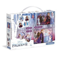 CLEMENTONI Mini Edukit - La Reine des Neiges 2 - Dominos, Puzzle et 6 Cubes
