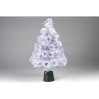 Sapin blanc de Noël - H 45 cm - Fibre optique LED rouge bordeaux