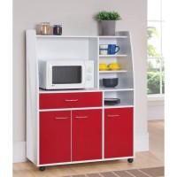 Desserte de cuisine KITCHEN 3 portes - Blanc et rouge - L 100 x P 40 x H 130 cm