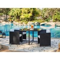ALOHA Ensemble repas de jardin resine tressée - Table et 4 fauteuils encastrables - 110 x 110 x 74 cm