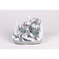 Village enneigé blanc et argent en polyrésine - H 13 cm - LED bleu