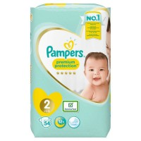 PAMPERS Premium Protection New Baby Taille 2 - 3 a 6 kg - 54 couches