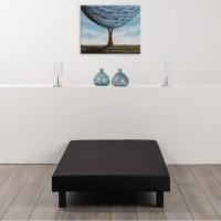 Sommier tapissier a lattes 90 x 190 - Bois massif noir + pieds - DEKO DREAM Rakenne