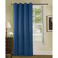 Rideau occultant - Uni effet sablé - 100% polyester - 140 x 260 cm - Bleu