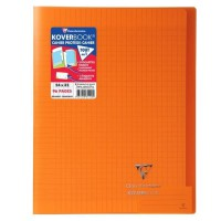 CLAIREFONTAINE - Cahier piqûre KOVERBOOK - 24 x 32 - 96 pages Seyes - Couverture Polypro translucide - Orange
