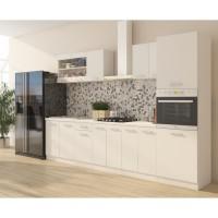ULTRA Cuisine complete avec colonne four et plan de travail inclus L 300 cm - Blanc mat