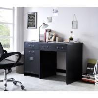 LIVERPOOL Bureau métal noir - L 115 x P 55 x H 75 cm
