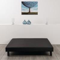 Sommier tapissier a lattes 160 x 200 - Bois massif noir + pieds - DEKO DREAM Rakenne