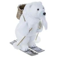 Décoration a poser Ours sur des skis avec un bonnet - En polyfoam - H26 cm