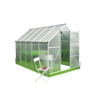 Serre de Jardin polycarbonate 5,9m² - Structure aluminium et socle de fixation inclus - Transparent
