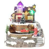 BLACHERE Village et Son Train Animé 8 LED Multicolores -L 18 x I 18 x H 21,5 cm - Câble Noir