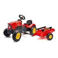 FALK - Tracteur a pédales Supercharger rouge avec capot ouvrant et remorque